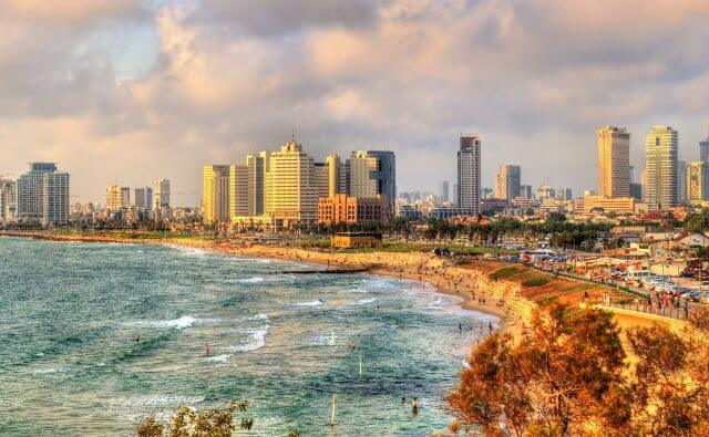 Panorama of the Mediterranean waterfront in Tel Aviv